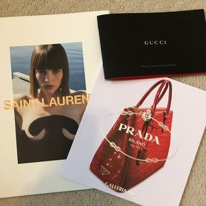 Gucci, YSL and Prada catalogues decor